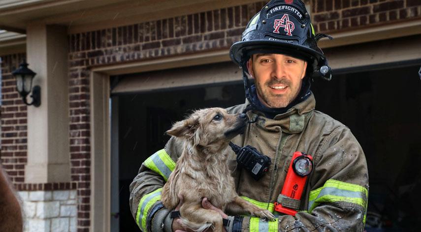 El bombero Nicolás García Boccio rescata a un perro de un incendio